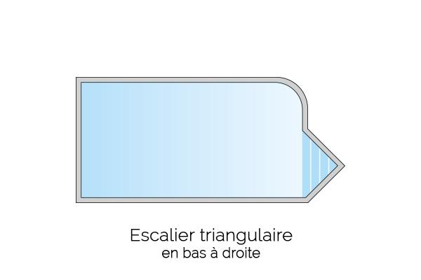 Escalier triangulaire en bas à droite