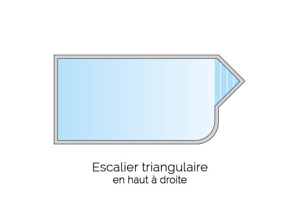 Escalier triangulaire en haut à droite